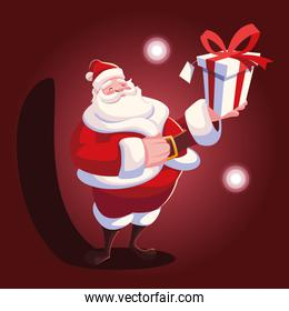 christmas card of santa claus with gift box