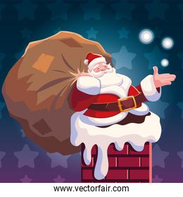 christmas card of santa claus entering the chimney