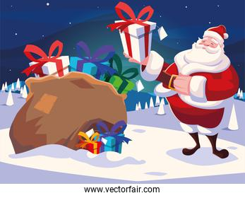 christmas card of santa claus with bag of gifts in winter landscape