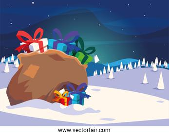 full bag of gifts from santa claus in winter landscape