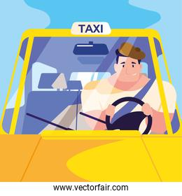 youth man driving a taxi