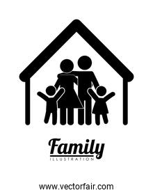 family silhouette  , Vector Illustration