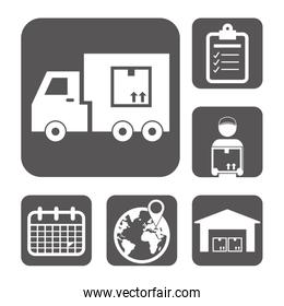 Logistics and delivery icons