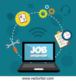 Job interview and laptop icon design