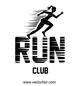 Woman of side running. sport concept, vector graphic