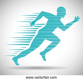 Man of side running. sport concept, vector graphic