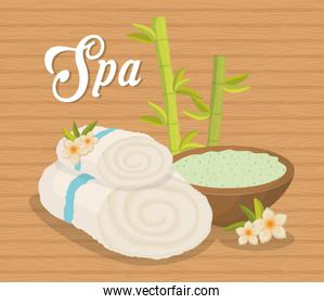 towel and bowl icon. Spa center design. Vector graphic