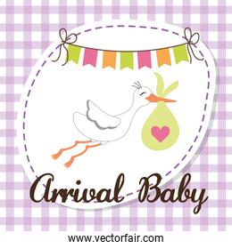 Baby Shower. stork. Pastel design. vector graphic