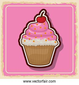Cupcake icon. Sweet food product. Vector graphic