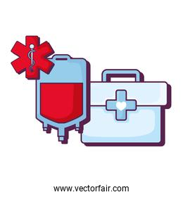 medical kit with blood bag and meical symbol