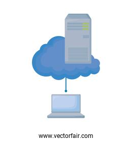 laptop computer with cloud and tower server