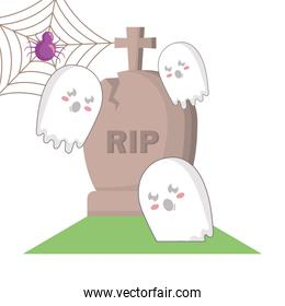 halloween gravestone with spiderweb and ghosts