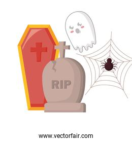 halloween gravestone with coffin and ghost