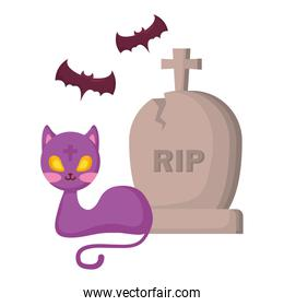 halloween gravestone with cat and bats