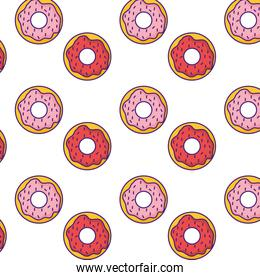 sweet donuts pattern background vector illustration
