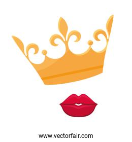 monarchical crown with lips