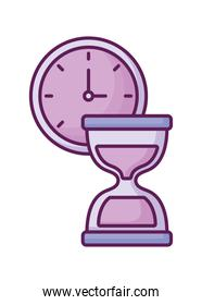 time clock with hourglass
