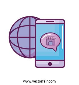 smartphone with store building and sphere