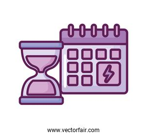 calendar reminder with hourglass