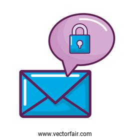 envelope mail with speech bubble and padlock