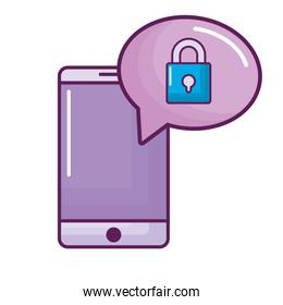 smartphone with speech bubble and padlock