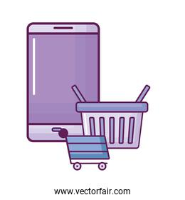 smartphone with shopping cart and basket