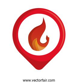 circular sticker with fire flame