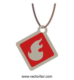 commercial tag with fire flame