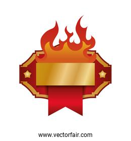 circular tag with fire flame vector illustration