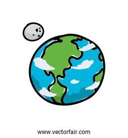 world planet earth with moon