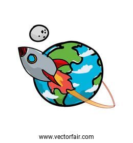 world planet earth with rocket and moon