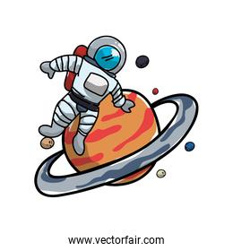 saturn planet with astronaut