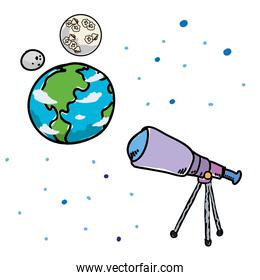 world planet earth with moon and telescope