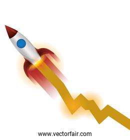 space rocket flying with arrow