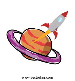 saturn planet with rocket flying