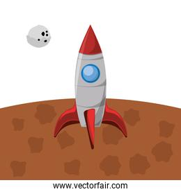 space rocket in mars and moon