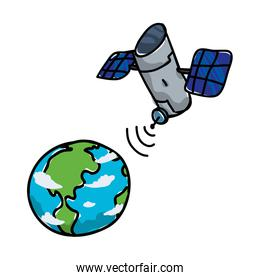 world planet earth with satellite