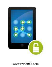 smartphone with security pattern vector illustration