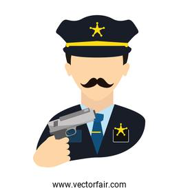 police agent with gun avatar character