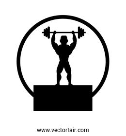 strong bodybuilder silhouette lifting weight