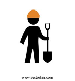 worker builder with shovel silhouette avatar
