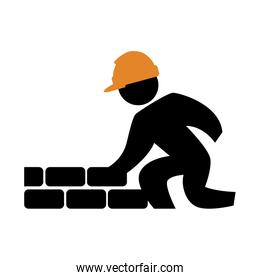 worker builder with wall silhouette avatar