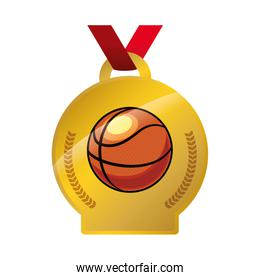 medal with basketball balloon