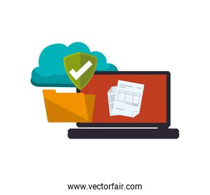 laptop with folder and cloud