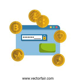 webpage template with virtual coins isolated icon