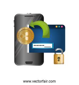smartphone with padlock and webpage template