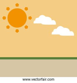 sun whit clouds isolated icon vector illustration
