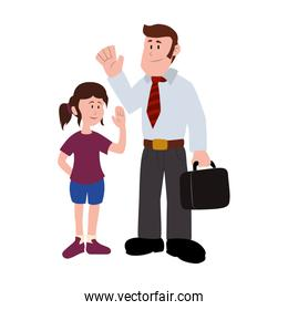 father with his daughter smiling avatar character vector illustration