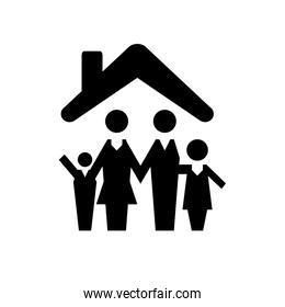 parents couple with son silhouettes vector illustration