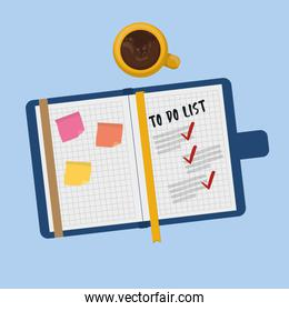 notebook school with supply vector illustration